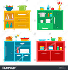 kitchen cabinets set kitchen cabinets set different tableware dishes stock vector