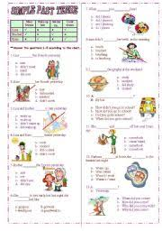 english exercises 3 exercises 30 sentences past simple regular