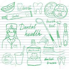 dental health doodles icons set hand drawn sketch with teeth
