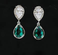 emerald green earrings cubic zirconia teardrop earring with emerald green fancy glass