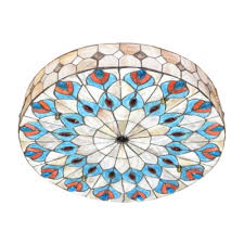 style 20 wide flush mount ceiling light with peacock