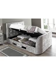Bed Frame With Tv In Footboard Scarpa Fabric Lift Up Storage Tv Bed Frame With Optional Mattress