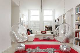 Home Decor Cushions Decorating Glazed Swing Chairs With White Cushions In Lounge