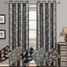 Curtain Drapes Charlotte Leafy Jacquard Drapes Grommet Window Curtain Panels Pair