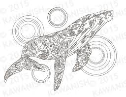 whale coloring page gift wall art zentangle by kawanish k