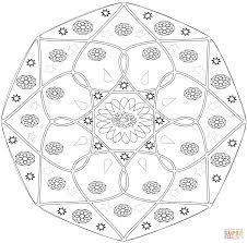 abstract mandala with flower coloring page free printable