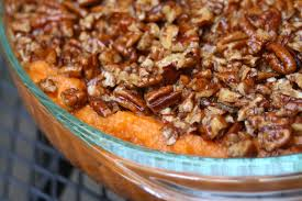 sweet potato casserole with pecan topping and