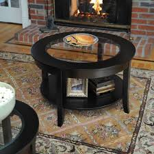 glass top round coffee table black finish modern contemporary