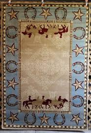 6x8 Area Rug 3x4 Or 6x8 Blue Tan Country Western Horses Horseshoe Star Area
