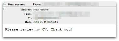 Post Resumes Online by Malware Attack U0027new Resume Please Review My Cv Thank You