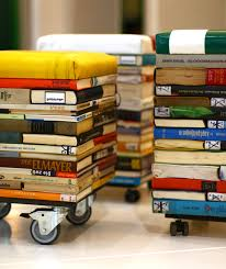 books into stool stools books and upcycling