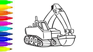 learn colors for kids with construction vehicles coloring page