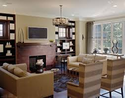 recessed lighting over fireplace formal living room with red brick fireplace and tv for small spaces
