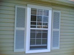 accessories classy white wooden frame window in grey wooden wall