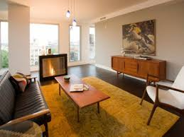 mid century modern room ideas rustic fireplace design orange red