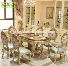 gold dining table set luxury newest style classic rectangle hand carving gold dining table