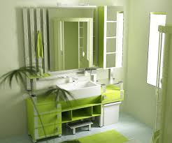 green bathroom design idea with glass screens also white floating