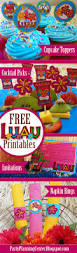 free printable luau cupcake toppers cocktail picks invitations