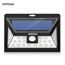 led solar security light mpow 24 led solar light ip65 waterproof wide angle security motion