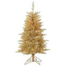 chagne tuscany tinsel tree with clear lights 10075887 hsn