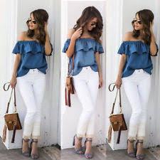 denim blouses denim shoulder sleeve tops blouses for ebay