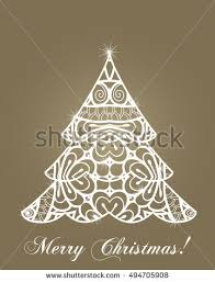 christmas tree laser cutting template happy stock vector 485498626