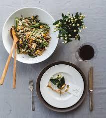 asparagus quinoa rice salad with goat cheese maple tahini
