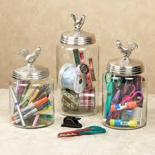 silver rooster decorative glass canister set