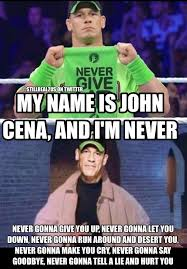 Never Gonna Give You Up Meme - he s never gonna give you up memes pinterest wwe funny john