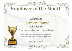 sample employee of the month certificate employee of the month certificate free well designed templates