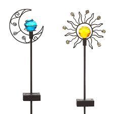 metal flower garden stakes amazon com solar sun u0026 moon garden stake set garden u0026 outdoor