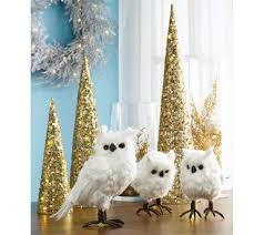 set of 3 white snowy owl feathered figurines page 1 qvc