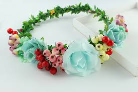 fruit headband handmade aqua floral crown flower fruit headband hair garland
