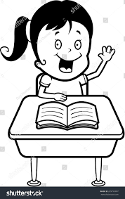 Student At Desk by Happy Cartoon Child Student Desk School Stock Vector 229792897
