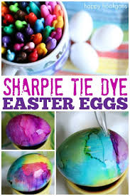 tie dye easter eggs with sharpies and rubbing alcohol happy