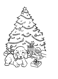 puppy sitting front christmas trees coloring pages color