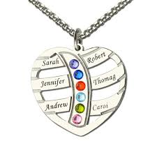 Necklace With Name Engraved Silver Birthstone Family Name Necklace Heart With Kids Name