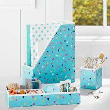 Teal Desk Accessories Printed Desk Accessories Pool Confetti Dots Pbteen