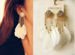 feather earrings s forever21 stunning sparkling rhinestone white feathers earrings