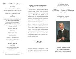 memorial service programs memorial service program milton murray fund for philanthropy