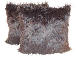 Faux Fur Throw Pillow Hand Crafted Mongolian Black Faux Fur 18 X 18 In Decorative