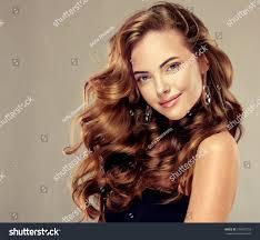 beautiful long wavy hair brunette stock photo 374302153