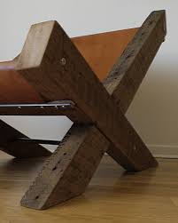 Leather And Wood Chair Reclaimed Wood And Leather Lounge Chair By Ticinodesign On Etsy