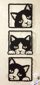 collections etc peeping black cats 3d metal wall plaques casitas