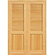 Home Depot Solid Core Interior Door Mmi Door 62 In X 81 75 In Unfinished Pine Half Louver 1 Panel