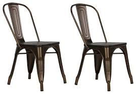 Wood And Metal Dining Chairs Dhp Fusion Metal Dining Chairs With Wooden Seat Bronze Set Of 2