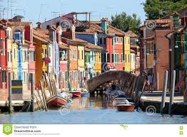 Painted Houses Colourfully Painted Houses On Canal In Burano Island Near Venice