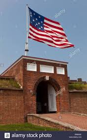 Flag Of Baltimore Flag Flying Over The Main Gate To Fort Mchenry National Historic