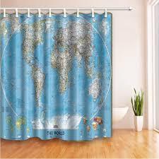 2017 world map digital printing waterproof shower curtain 180