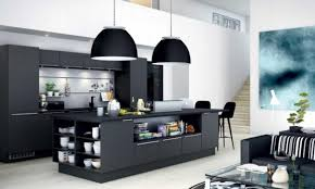 modern style kitchen l shaped laminated wooden cabinet with black counter top decor